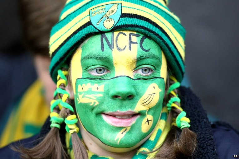 A Norwich fan with a painted face