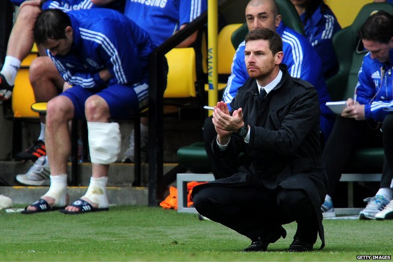 Andre Villas-Boas and an injured Frank Lampard