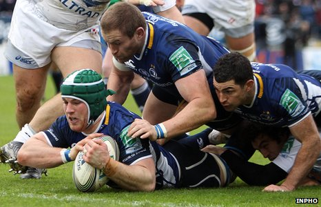 Sean O'Brien scores Leinster's first try