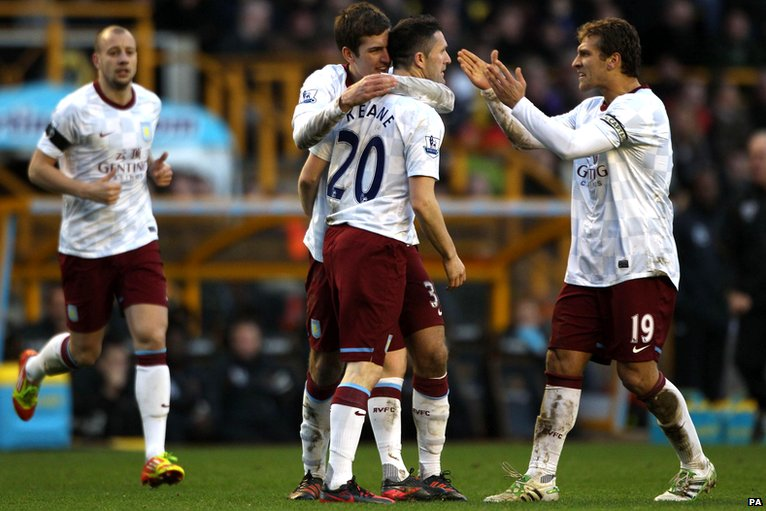 Robbie Keane and Aston Villa celebrate