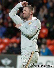 Michael Higdon celebrates