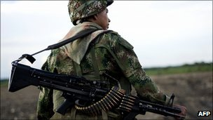 A Colombian soldier on patrol in the Cauca region, 18 January 2012