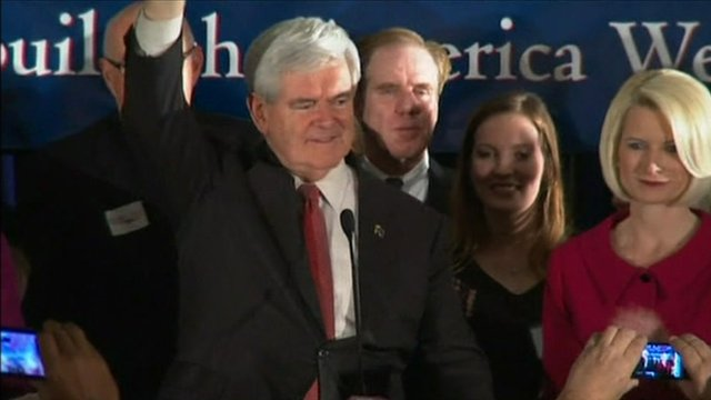 Newt Gingrich addresses supporters in South Carolina