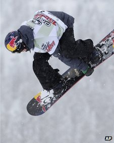Mark McMorris from Canada performs a jump during the big air O'Neill Evolution of the world's best freestylers in Davos