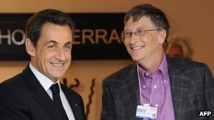 Nicolas Sarkozy and Bill Gates at Davos 2011