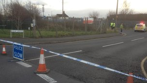 Police cordon at the recycling centre