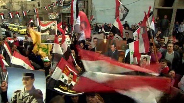 President Bashar al-Assad supporters