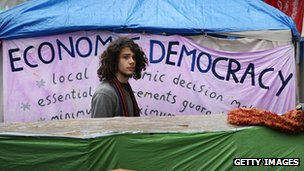 A protestor at the Occupy London camp outside St Paul's Cathedral