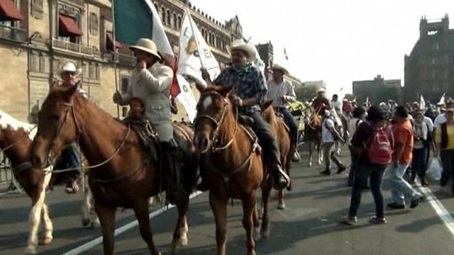 Farmers demonstrating in Mexico City