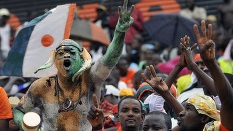 Fans celebrate after qualifying for the Cup of Nations (Sept 2011)