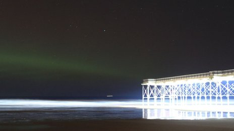 The Northern Lights as seen near Saltburn Pier, Cleveland