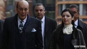 Asil Nadir arrives with his wife Nur at the Old Bailey courthouse in London 23 January