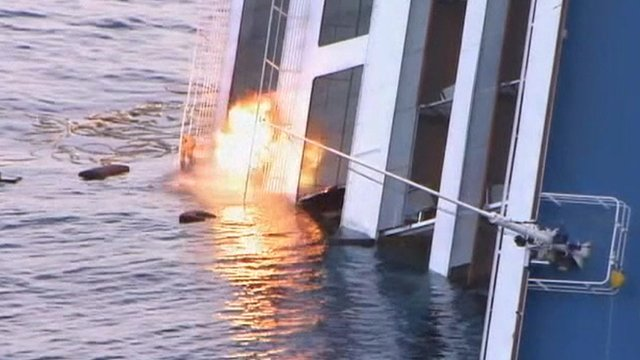 Controlled explosion on the Costa Concordia