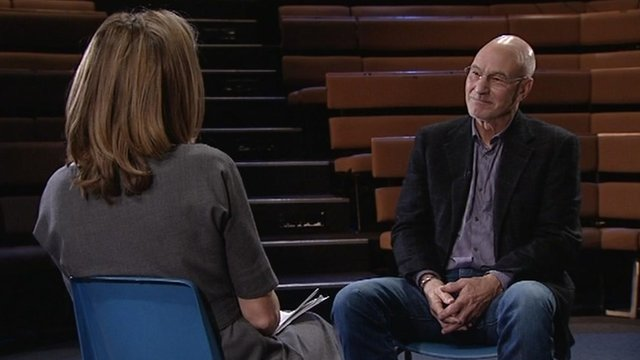 Sarah Montague with Sir Patrick Stewart
