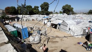 A camp for internally displaced people on the site of a football pitch in Port-au-Prince, Haiti - 11 January 2012