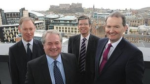 (L-r) Drew Taylor, David Dunsire (Tods Murray Executive Partner), Graham Burnside (Tods Murray Chairman) and Greig Honeyman