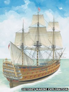 Artist's impression of how HMS Victory may have looked