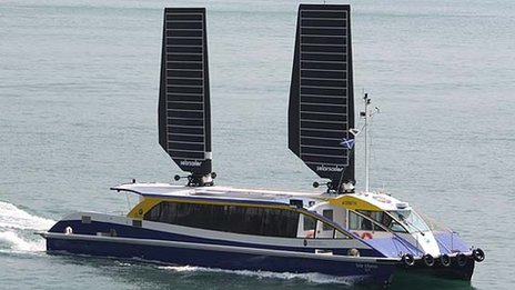 Solar Albatross in Hong Kong with solar sails raised