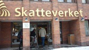 Entrance to Skatteverket, Sweden's tax authority