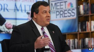 "Gov Chris Christie speaks on NBC's ""Meet the Press"" in Washington, DC 22 January 2012"