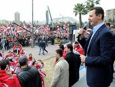 President Assad making speech