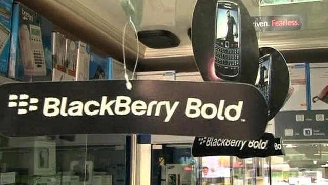 Blackberry logos at a phone store