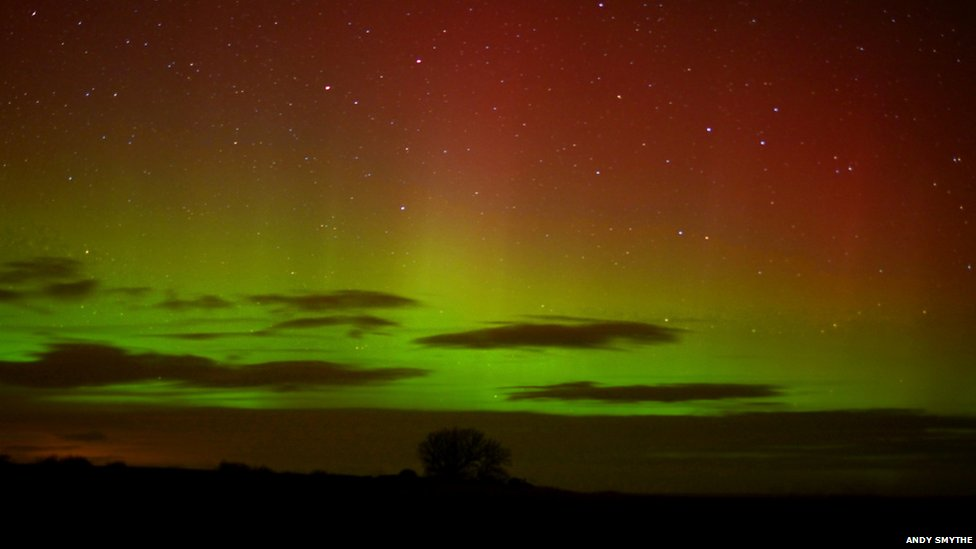 The Northern Lights have been spotted over northern England
