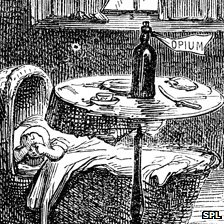 "Illustration of crying baby with bottle labelled ""opium"" by its bedside"