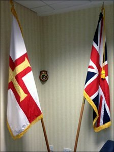 The Union Jack and Guernsey's Flag.