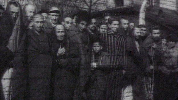 People at concentration camp in Auschwitz