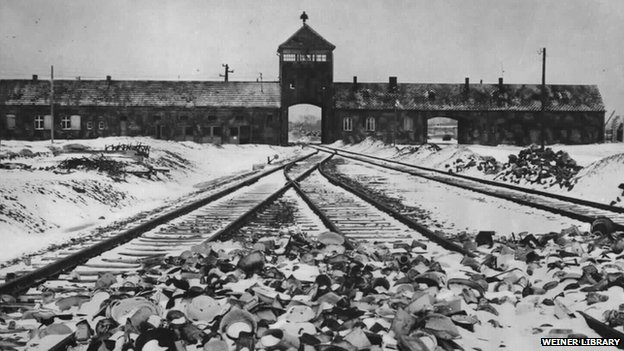 Gate tower, ramp and railway line at Auschwitz