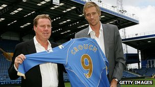 Harry Redknapp and Peter Crouch on the Fratton Park pitch