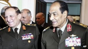 Egyptian armed forces chief Gen Sami Anan and Field Marshal Mohammed Hussein Tantawi, head of the Supreme Council of the Armed Forces (SCAF)