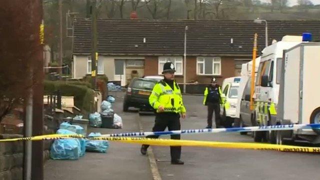 Police cordon at Llanllwni, Carmarthenshire