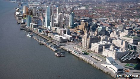 Liverpool waterfront with proposed development (artist impression)