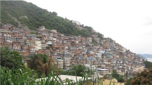 Cantagalo favela in the hillside of Rio