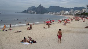 Ipanema Beach in Rio, a place where tourism is thriving.