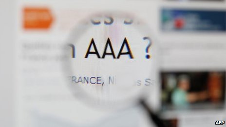 A close-up of France's AAA rating being questioned.