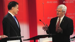 Mitt Romney and Newt Gingrich take part in a Republican debate in Tampa, Florida 23 January 2012