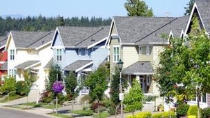 row of suburban homes