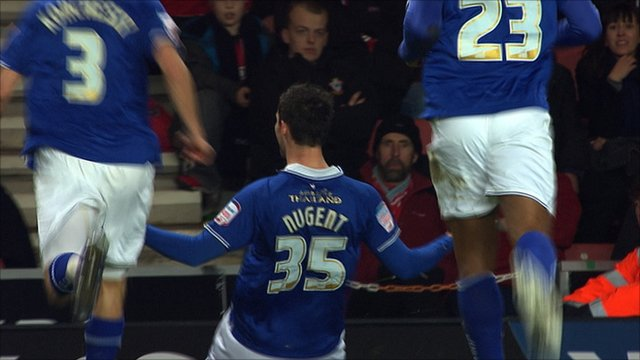 David Nugent celebrates his opener for Leicester