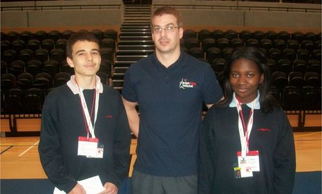 School Reporters Edith and Callum with Team GB athlete Charlie Walker