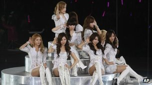 South Korea K-pop group Girls&#039; Generation perform in Hong Kong on 15 January, 2012