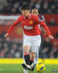 Manchester United&#039;s South Korean mid fielder Park Ji-Sung at Old Trafford in Manchester, on 14 January, 2012