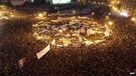 Thousands of anti-government demonstrators in Cairo's Tahrir Square (8 February 2011)