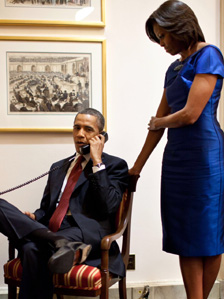 President Obama making phone call