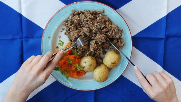 A plate of haggis