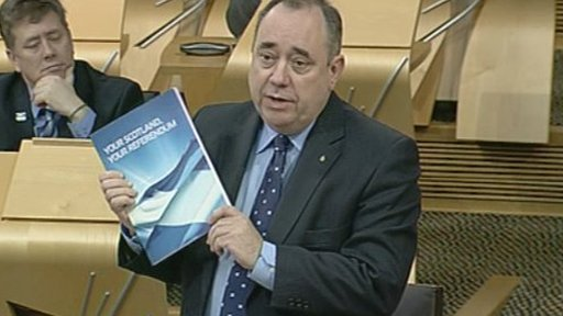 First Minister Alex Salmond delivers a ministerial statement on his government's independence referendum consultation.