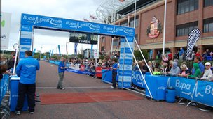 Finish line at the Stadium of Light