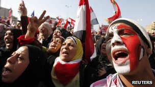 Demonstrators in Tahrir Square, Cairo